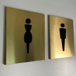 Brass Material WC Sign